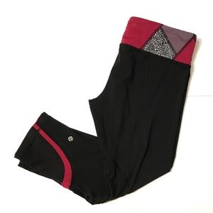 Lululemon Workout Capri Pants 10 Black Fuschia